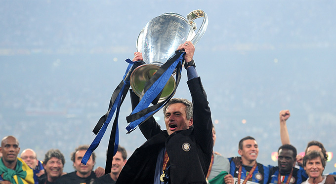 Jose Mourinho with Champions League Cup